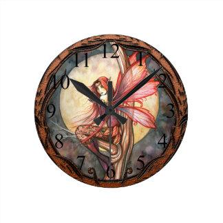 Autumn Red Gothic Autumn Fairy Clock