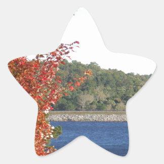 Autumn Red Maple, Blue Mountain Lake Arrowhead Star Sticker