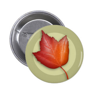 Autumn Red Maple Leaf Button