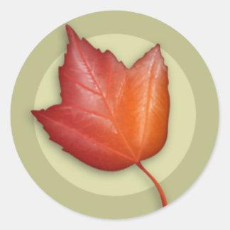 Autumn Red Maple Leaf Round Sticker