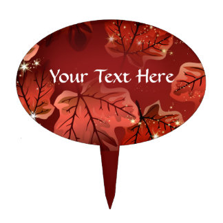 Autumn Red Maple Leaves Cake Pic Cake Topper