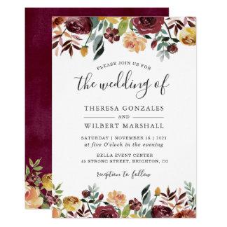 Autumn Red Orange Botanical Floral Fall Wedding Invitation