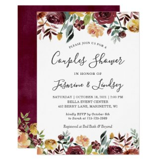 Autumn Red Orange Floral Wedding Couples Shower Invitation