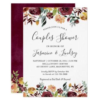Autumn Red Orange Floral Wedding Couples Shower Invitation