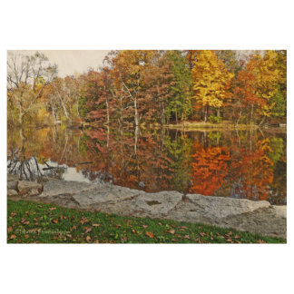 AUTUMN REFLECTIONS IN WOODLAND LAKE WOOD POSTER