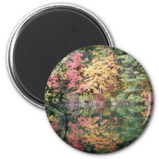 Autumn Reflections Landscape I 2 Inch Round Magnet