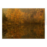 Autumn reflections on pond. greeting card