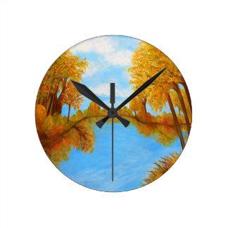Autumn Reflections Round Clock