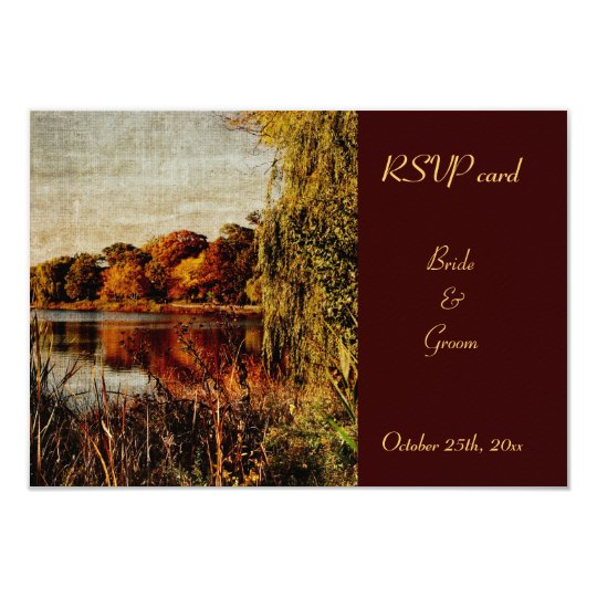 autumn reflections RSVP wedding card