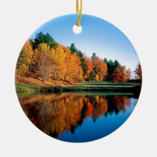 Autumn Reflections Vermont Double-Sided Ceramic Round Christmas Ornament
