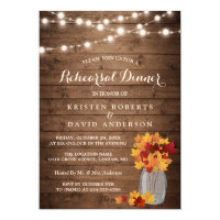 Autumn Rehearsal Dinner Rustic Wood String Lights Card