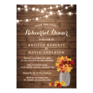 Autumn Rehearsal Dinner Rustic Wood String Lights Card