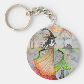 Autumn Reverie Witch and Cat Halloween Art Basic Round Button Keychain