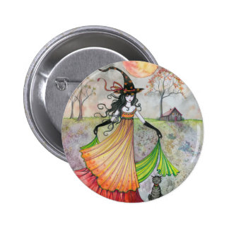 Autumn Reverie Witch and Cat Halloween Art Buttons