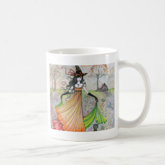 Autumn Reverie Witch and Cat Halloween Art Coffee Mug
