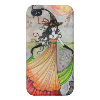 Autumn Reverie Witch and Cat Halloween Art iPhone 4/4S Cases