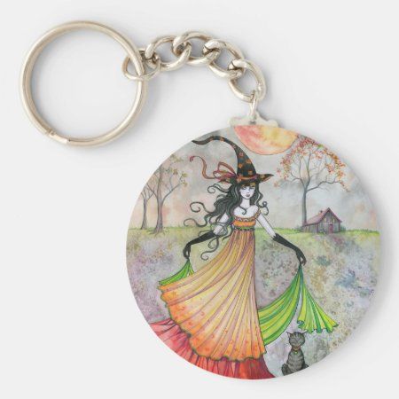 Autumn Reverie Witch and Cat Halloween Art Keychain