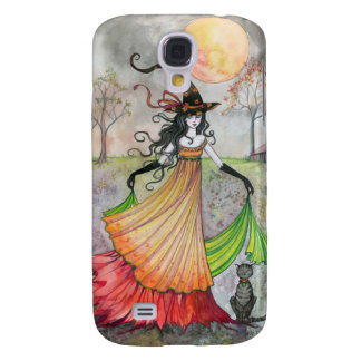 Autumn Reverie Witch and Cat Halloween Art Samsung S4 Case