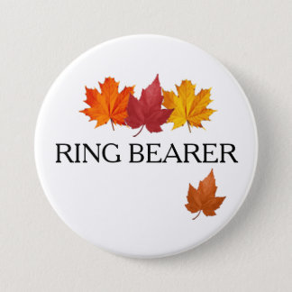 Autumn Ring Bearer Button Pin - Autumn Leaves