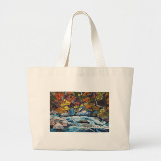 Autumn River Painting Canvas Bags