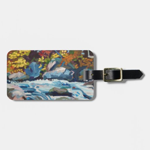 Autumn River Painting Bag Tags