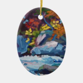Autumn River Painting Ceramic Ornament