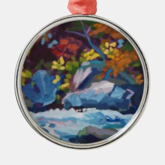 Autumn River Painting Metal Ornament