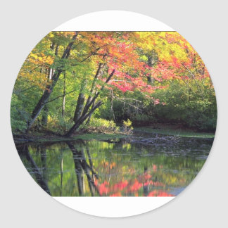 Autumn River Reflections Classic Round Sticker