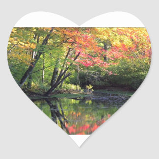 Autumn River Reflections Heart Sticker