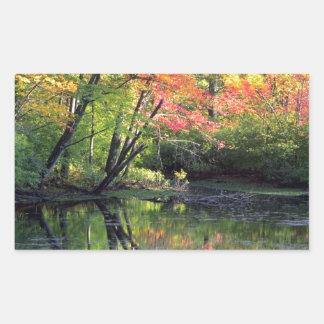 Autumn River Reflections Rectangular Sticker