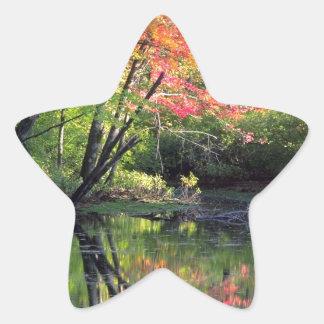 Autumn River Reflections Star Sticker