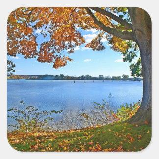 Autumn River Scene Sticker