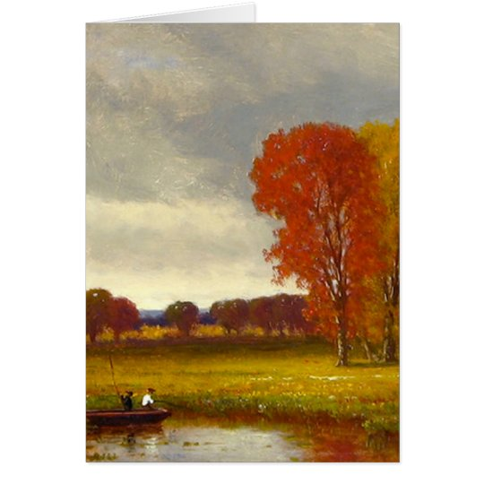 Autumn River Trees Painting Card