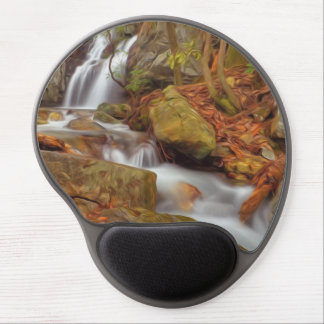 Autumn river with waterfall gel mouse mat