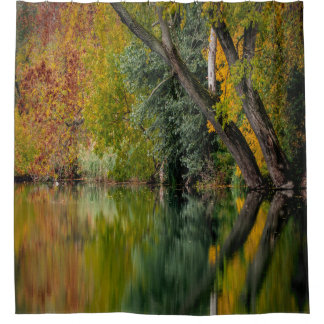 Autumn Riverbank Reflection Shower Curtain