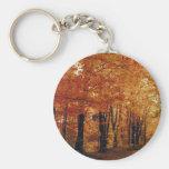 Autumn Road Basic Round Button Keychain