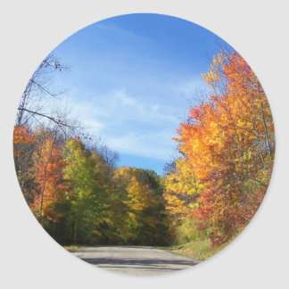 autumn road classic round sticker