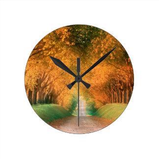Autumn Road Cognac Region France Round Wall Clocks