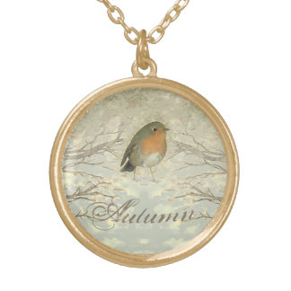 AUTUMN ROBIN Fall Branches Gold Plated Necklace