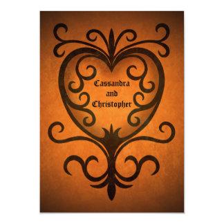 Autumn romance elegant black scrollwork heart 5x7 paper invitation card