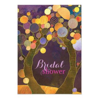 Autumn Romance Purple Bridal Shower Card
