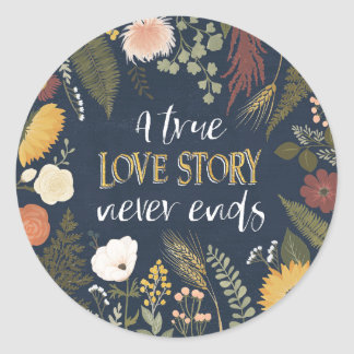 Autumn Romance V | A True Love Story Never Ends Classic Round Sticker