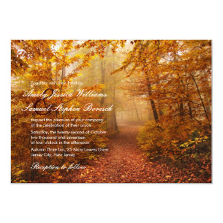 "Autumn Romantic Forest Path Wedding Invitation 5"" X 7"" Invitation Card"