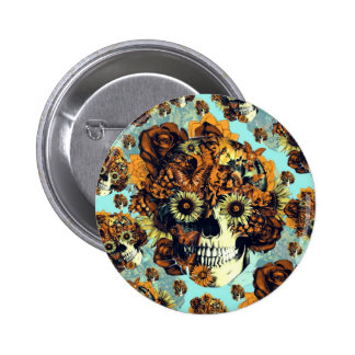 Autumn Rose skull in soft blue and orange Button