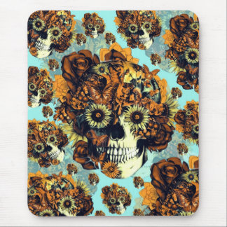 Autumn Rose skull in soft blue and orange Mouse Pad
