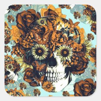 Autumn Rose skull in soft blue and orange Square Sticker