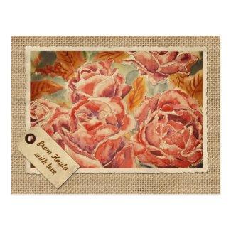 Autumn Roses Watercolor Painting Burlap Vintage