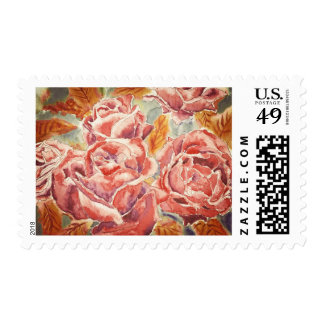 Autumn Roses Watercolor Painting Hybrid Tea Fall Postage