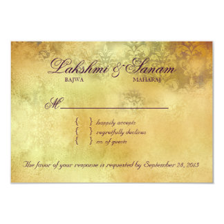 Autumn RSVP Wedding Reply Card Leaves Purple