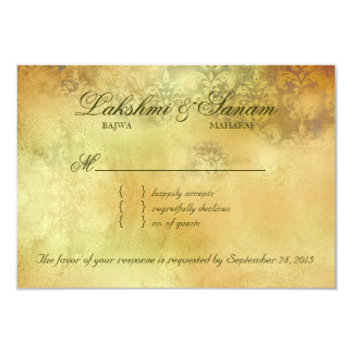 Autumn RSVP Wedding Reply Card Leaves Sparkle